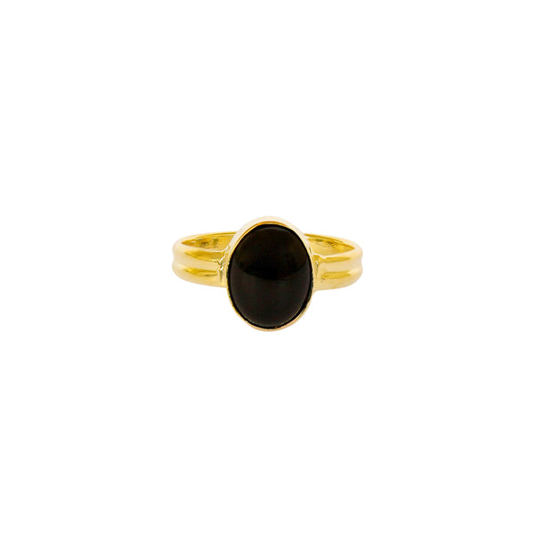 ESA ONYX GOLD FILLED SEMI-PRECIOUS RING
