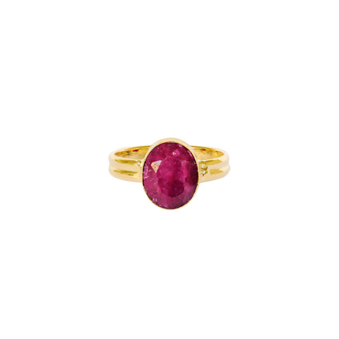 ESA ROUGH RUBY GOLD FILLED SEMI-PRECIOUS RING