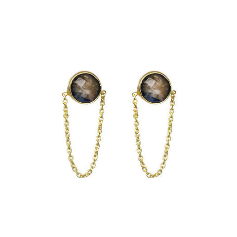 ESTRILA LABRADORITE GOLD EARRINGS