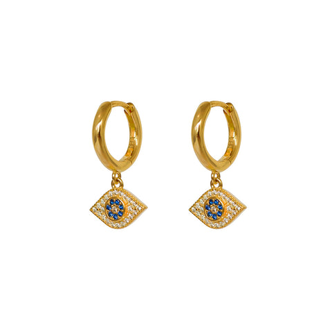 EVIL EYE DROP 2 MICRON GOLD CRYSTAL HUGGIES