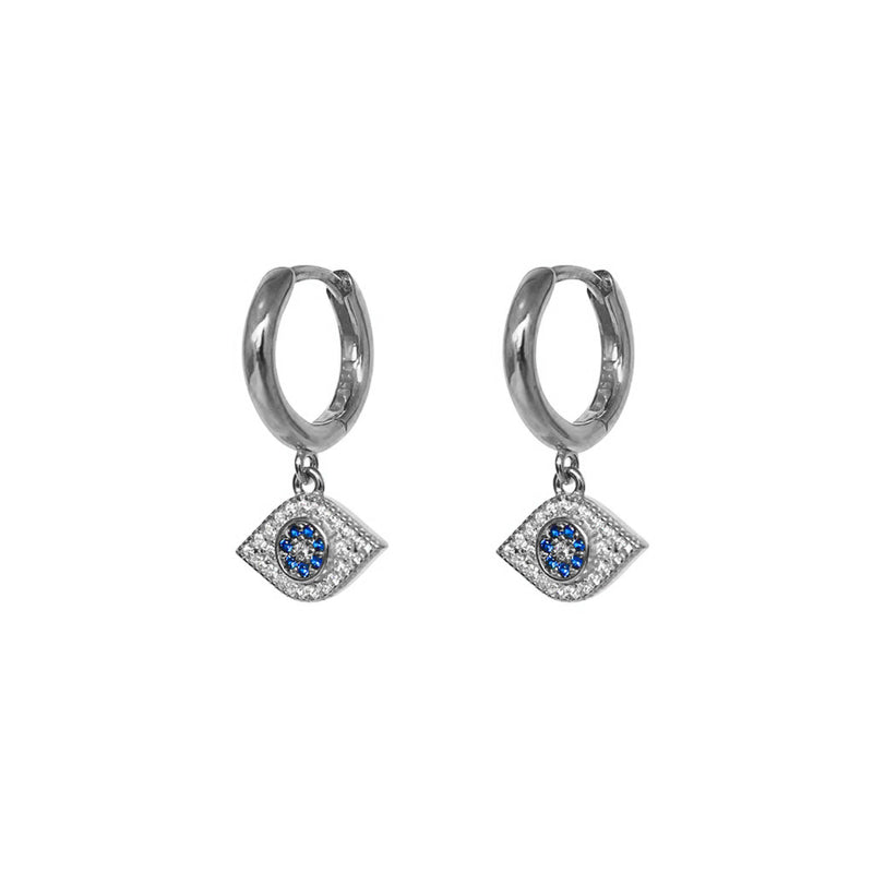 EVIL EYE DROP STERLING SILVER CRYSTAL HUGGIES