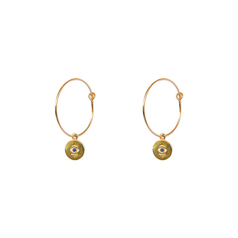 EVIL EYE GOLD FILLED HOOP EARRINGS