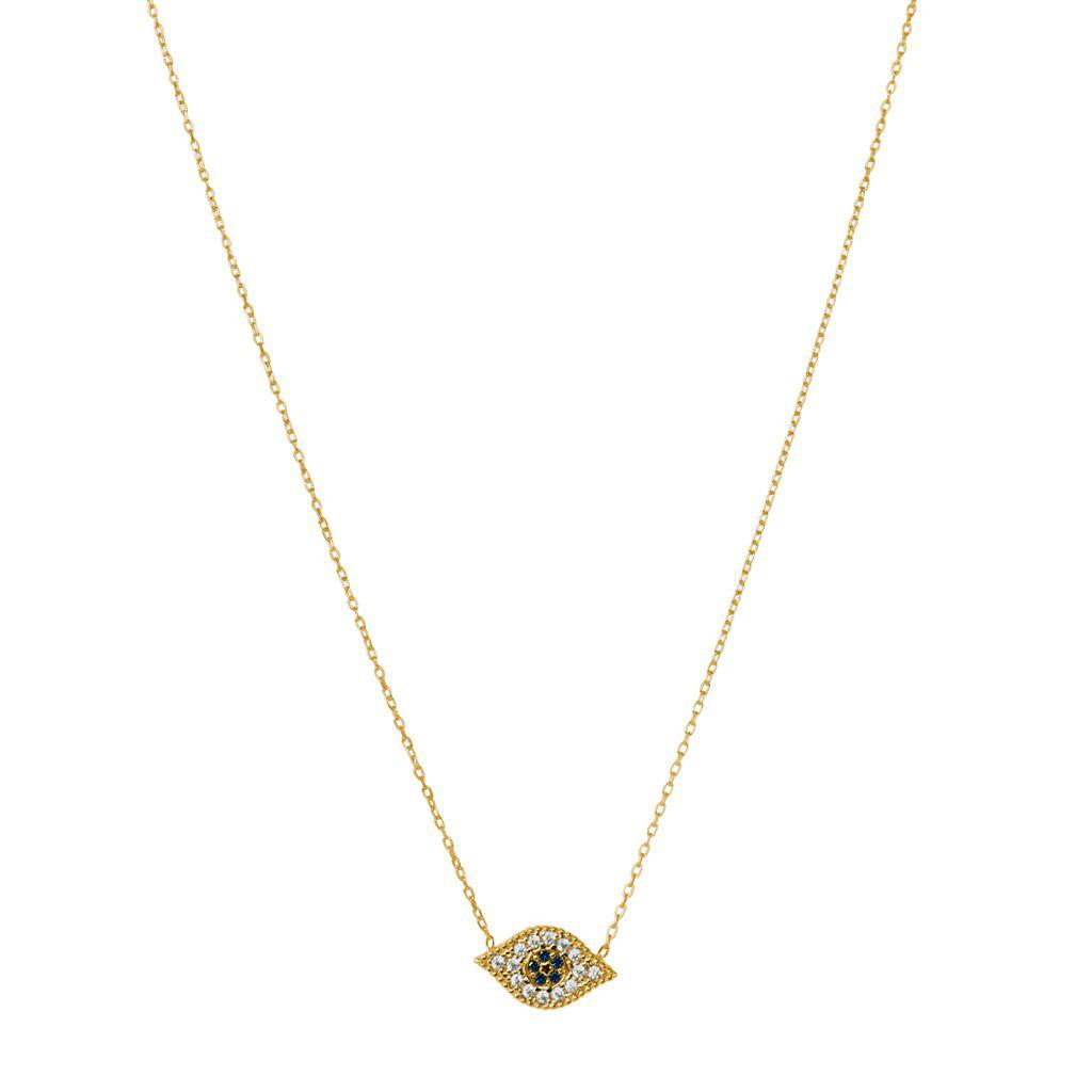 EVIL EYE LARGE PENDANT GOLD NECKLACE