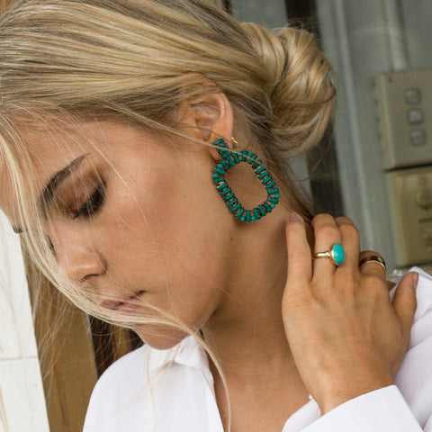 ARANDI TURQUOISE AND GOLD EARRINGS