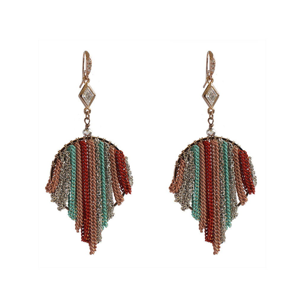 EKANI MULTI-COLOUR ROUND CHAIN TASSEL DROP EARRINGS