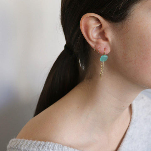EMORY CHALCEDONY SEMI-PRECIOUS 2 MICRON GOLD EARRINGS