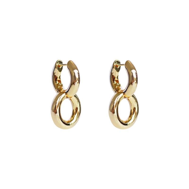 FARREN GOLD ROUND DROP HOOPS