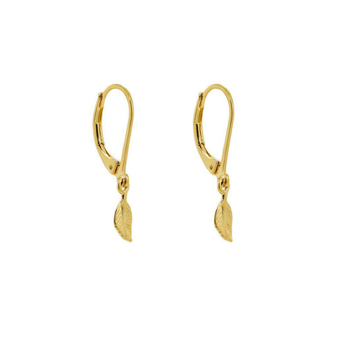 RESE FEATHER 2 MICRON  GOLD EARRINGS