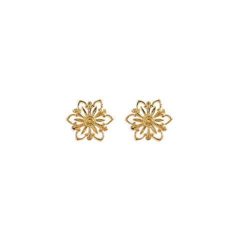 FLOWER FILIGREE 2 MICRON GOLD STUDS