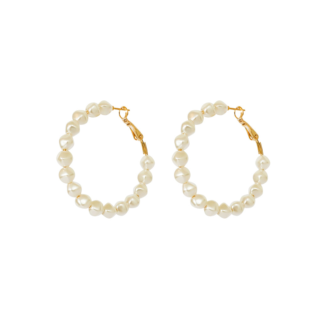 GABBY PEARLS HOOP GOLD EARRINGS