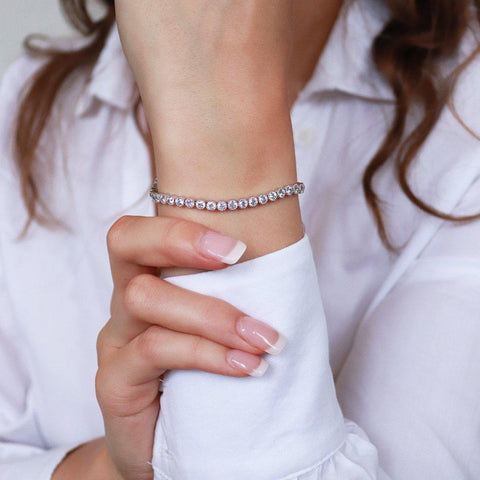 GEIYA RHODIUM PLATED CRYSTAL BRACELET