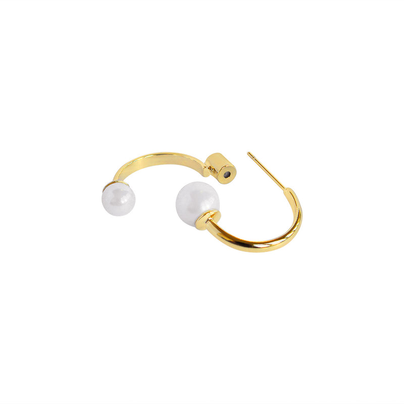 HADLEIGH DOUBLE LOOP PEARL GOLD EARRINGS