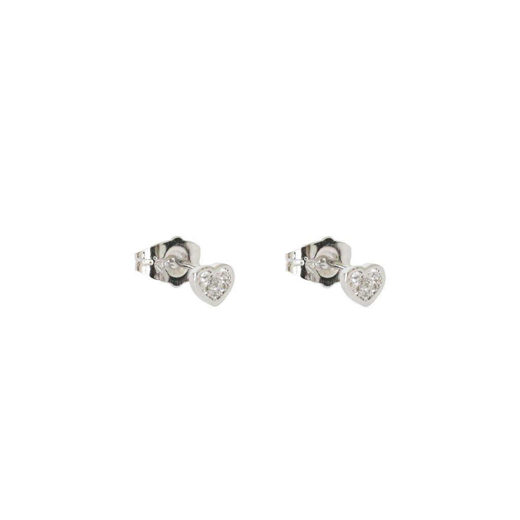 HEART SHAPE SILVER CRYSTAL STUDS