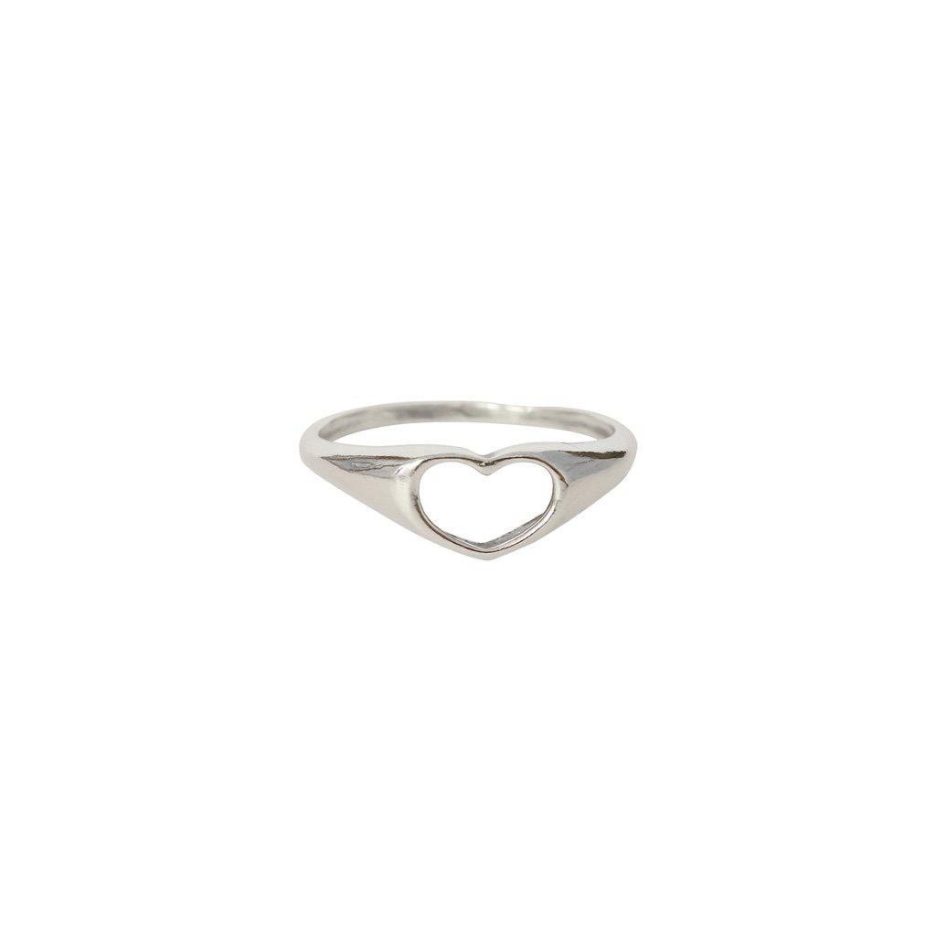 HOLLOW HEART STERLING SILVER RING