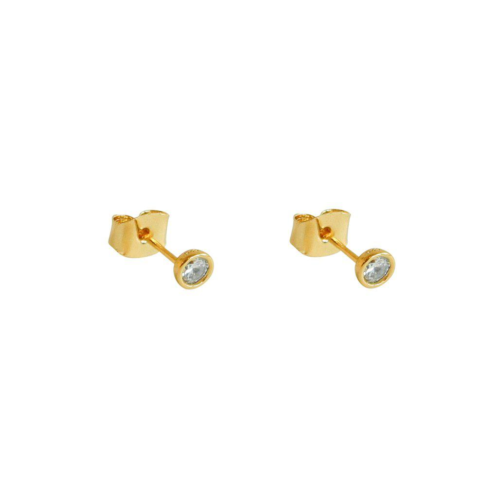 HAZE CRYSTAL GOLD STUD EARRINGS