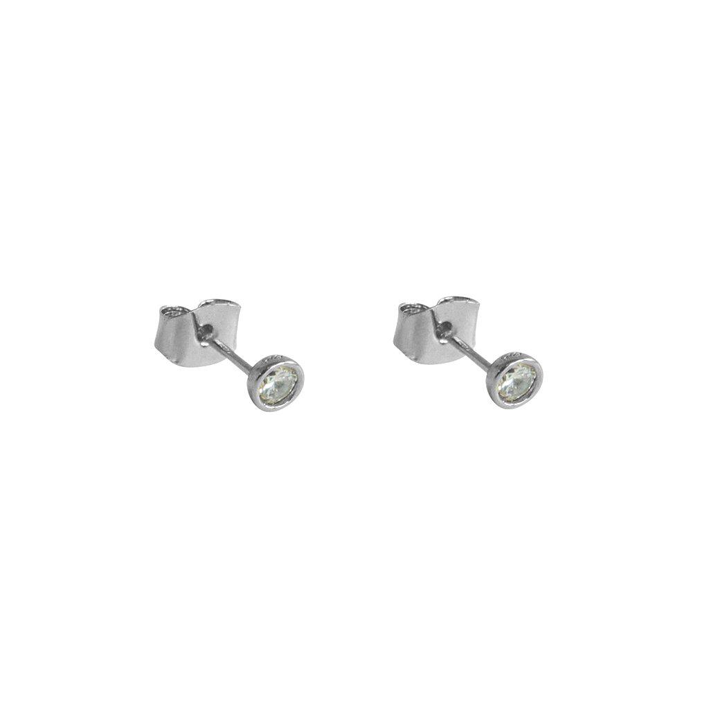 HAZE CRYSTAL SILVER STUD EARRINGS