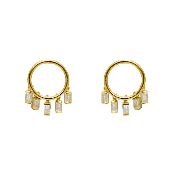 HAYES MOONSTONE GOLD EARRINGS