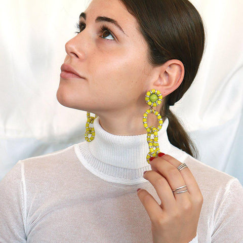 PUNAU LIME AND ANTIQUE GOLD MAXI EARRINGS