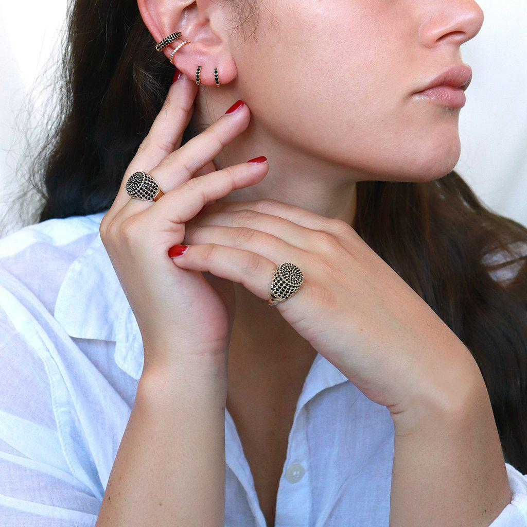 BLACK CRYSTAL CONCH CUFF EARRING