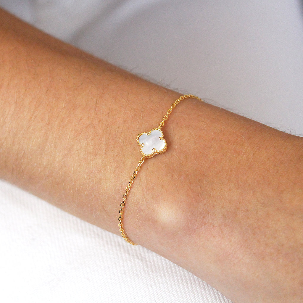 CLOVER 1 MICRON GOLD MOTHER OF PEARL BRACELET