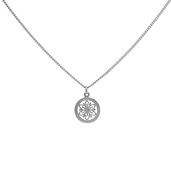 filigree flower disc necklace