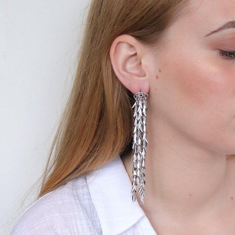 ALIVIA TASSEL DROP SILVER EARRINGS