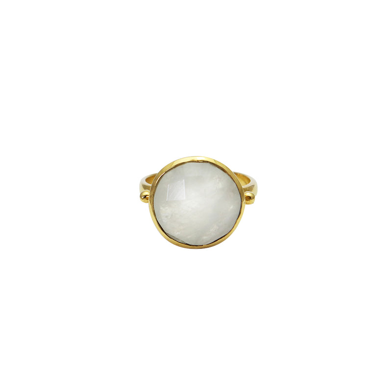 seila 2 micron gold white moonstone ring