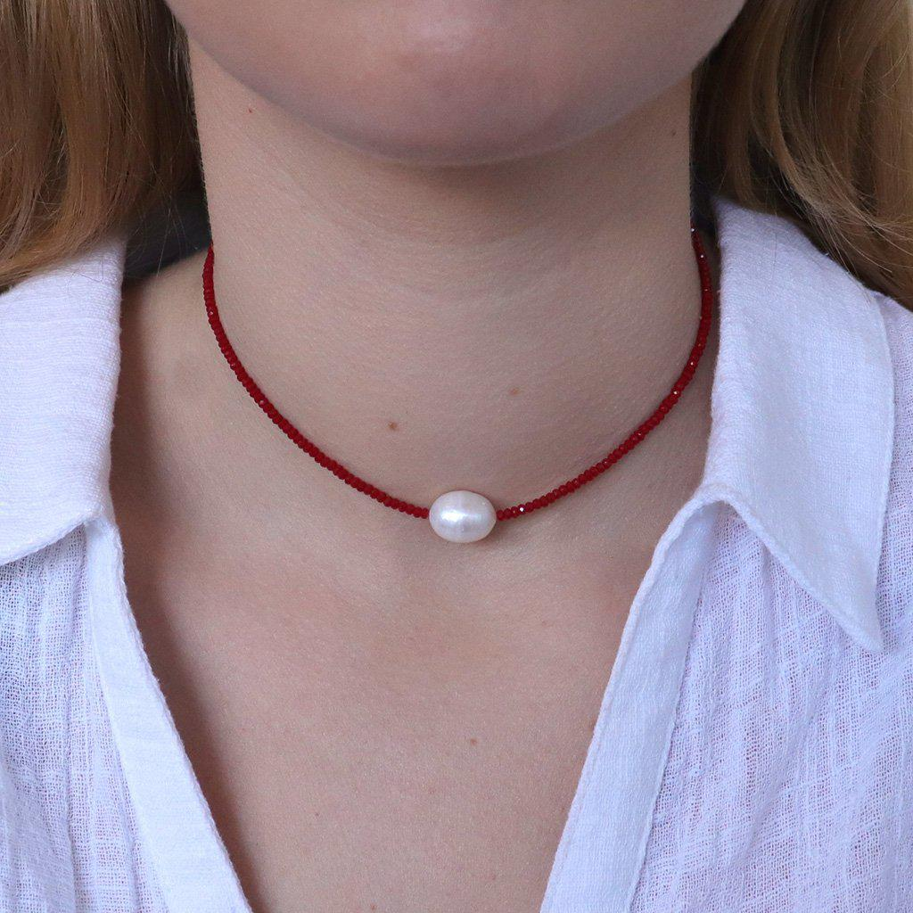 DARBY NATURAL PEARL RED NECKLACE