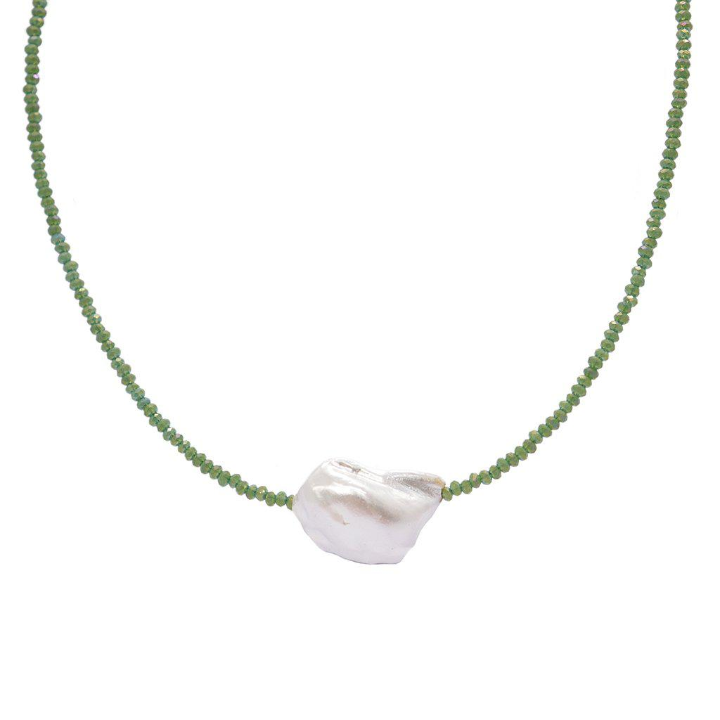 DARBY NATURAL PEARL GREEN NECKLACE