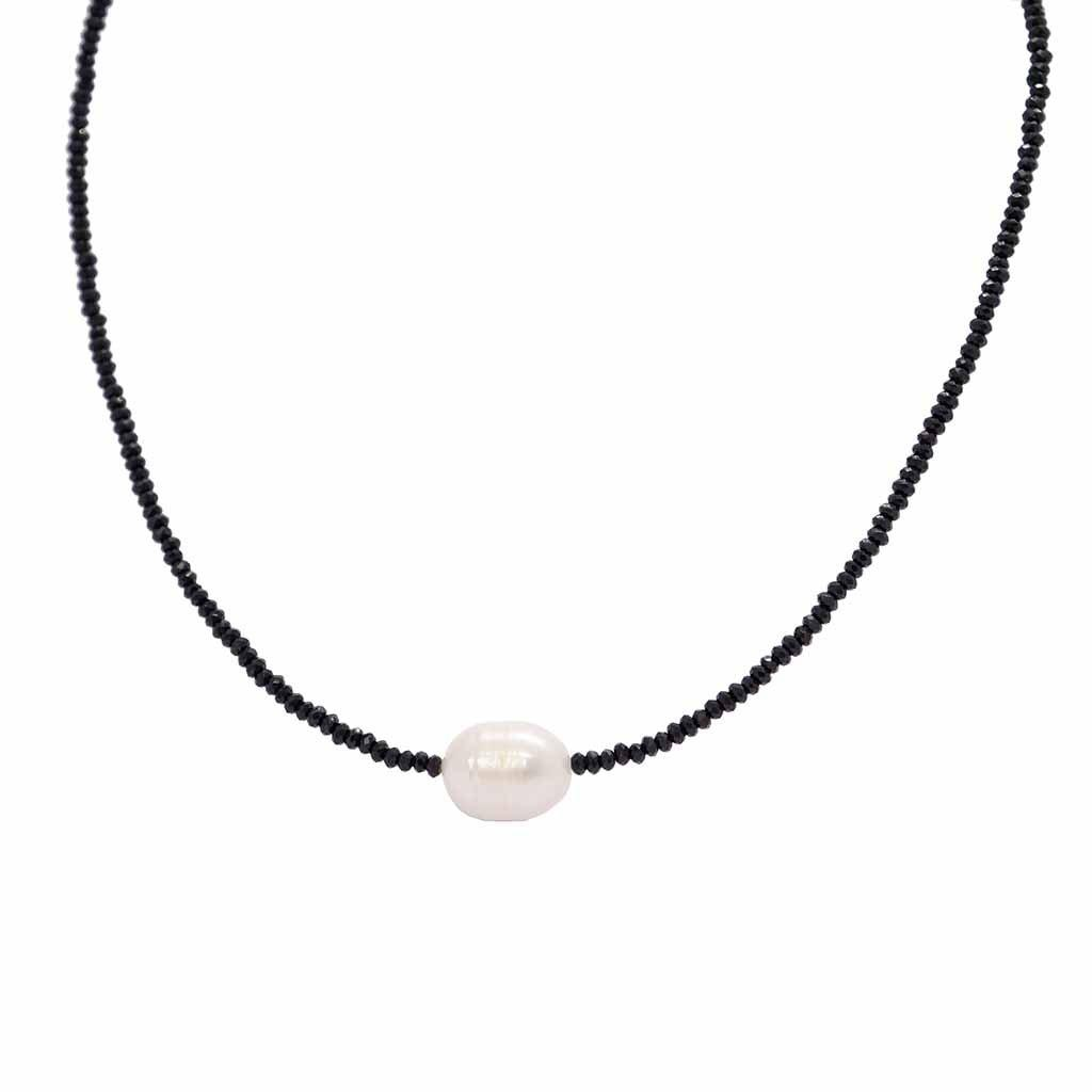 DARBY NATURAL PEARL BLACK NECKLACE