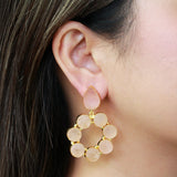 AUNE ROSE QUARTZ GOLD EARRINGS