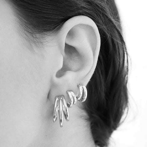AVAK TRIPLE HOOP SILVER EARRINGS