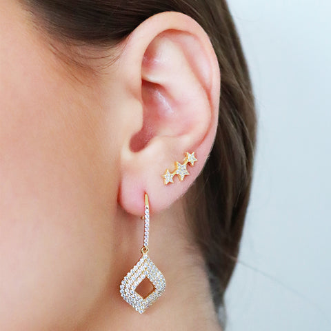 POSEY GOLD DIAMOND SHAPE CRYSTAL DROP EARRINGS
