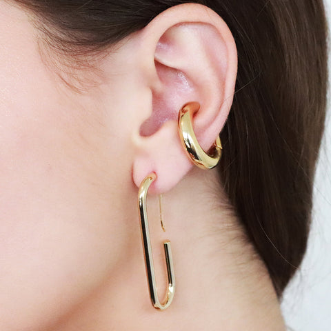 CHAIM GOLD RECTANGULAR HOOP EARRINGS