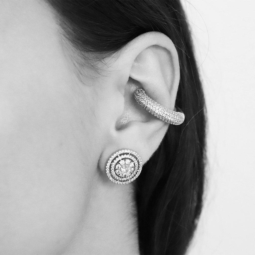 CLEAR CRYSTAL SILVER CONCH CUFF EARRING