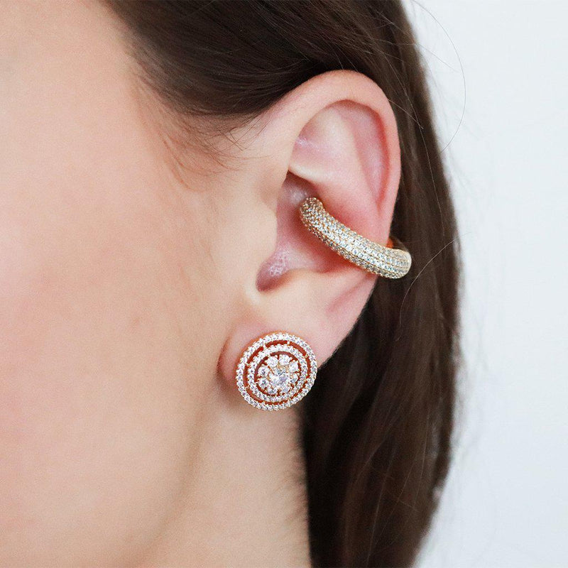 CLEAR CRYSTAL GOLD CONCH CUFF EARRING