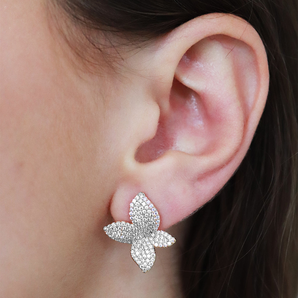 NOLLOTH SILVER FLOWER CRYSTAL STUD EARRINGS