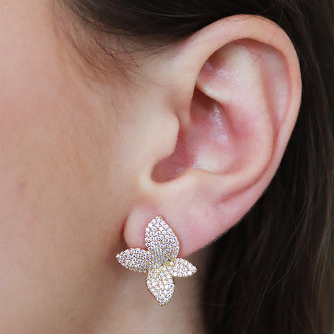 NOLLOTH GOLD FLOWER CRYSTAL STUD EARRINGS