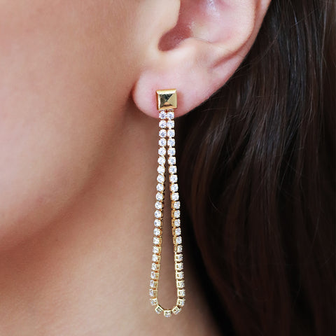JOLEE CHAIN CRYSTAL GOLD EARRINGS