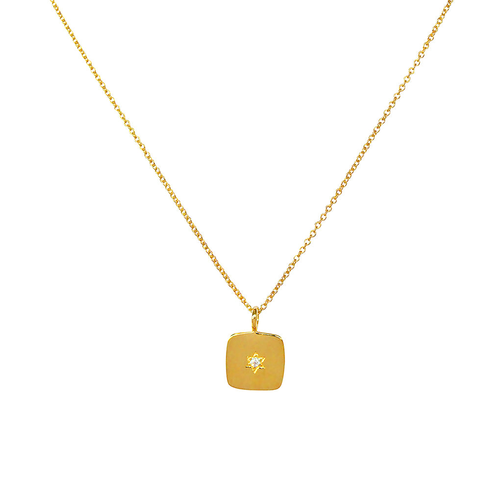 STAR OF DAVID GOLD PLATED CRYSTAL PENDANT