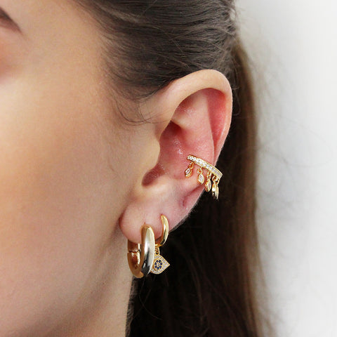 MALANI CONCH GOLD PLATED CRYSTAL EAR CUFF