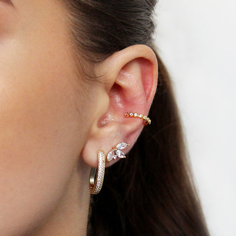 NESTI LEAF RHODIUM CRYSTAL LEAF GOLD STUD
