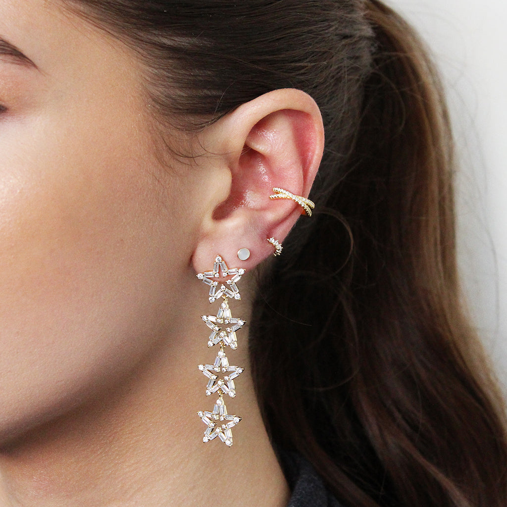 RELNA CONCH GOLD PLATED CRYSTAL EAR CUFF