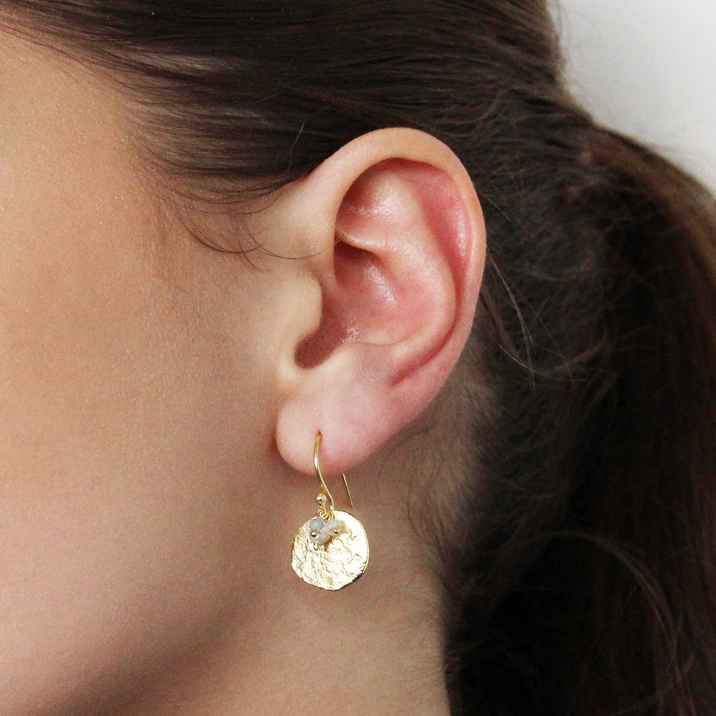 BEATA GOLD PLATED DISC DROP EARRINGS