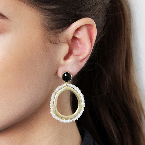 ANA ONYX 2 MICRON GOLD EARRINGS
