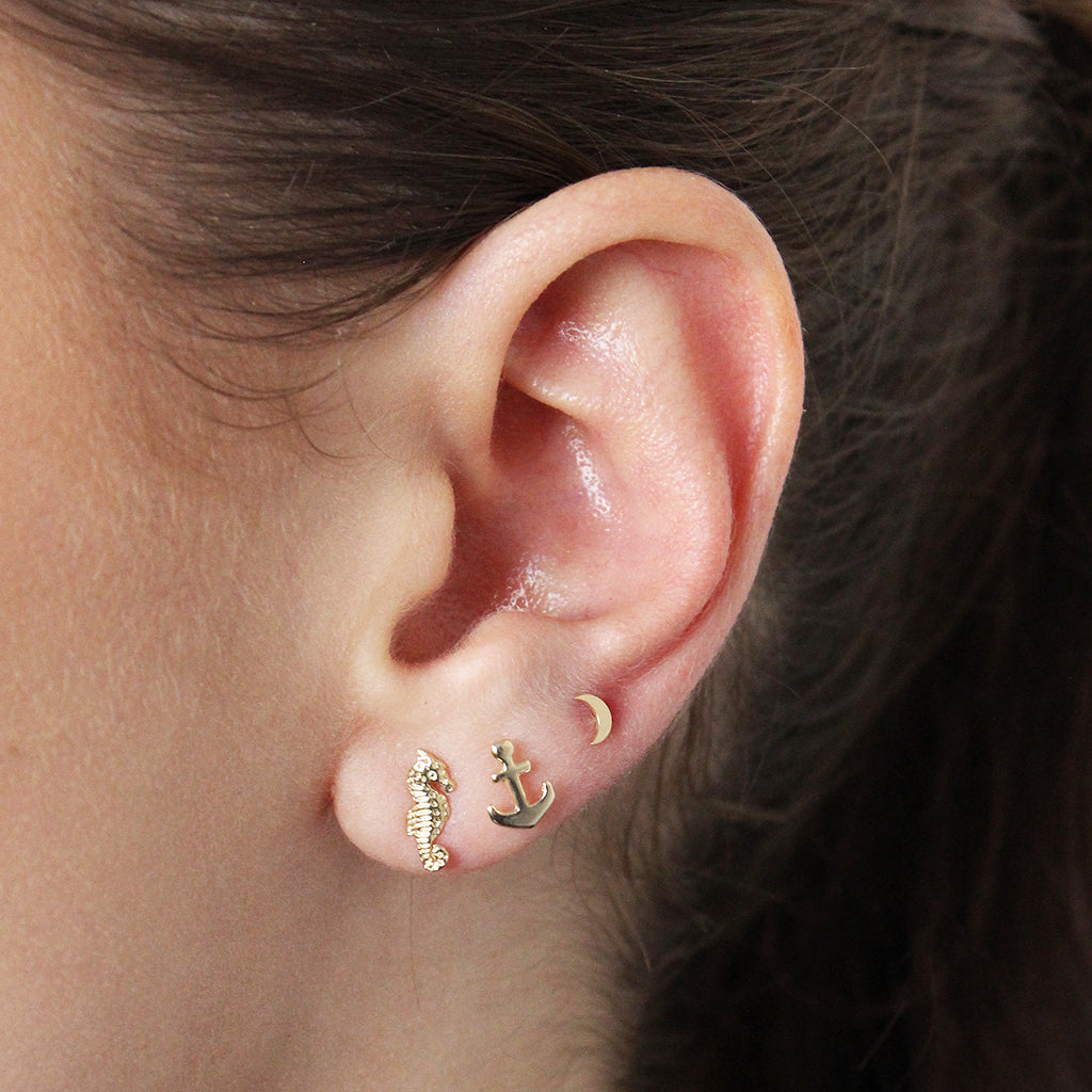 MOON 2 MICRON GOLD STUDS