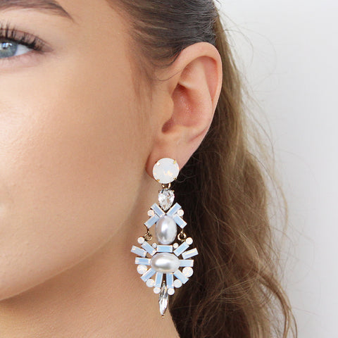 ESME WHITE CRYSTAL DROP EARRINGS