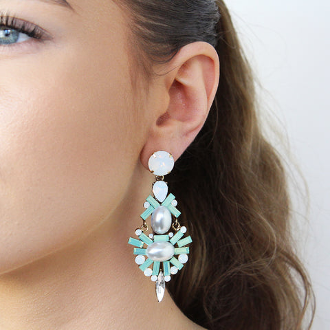 ESME MINT CRYSTAL DROP EARRINGS