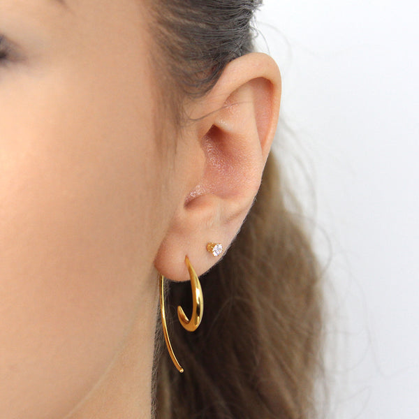 DEVORA 2 MICRON GOLD HOOK WAVE EARRING
