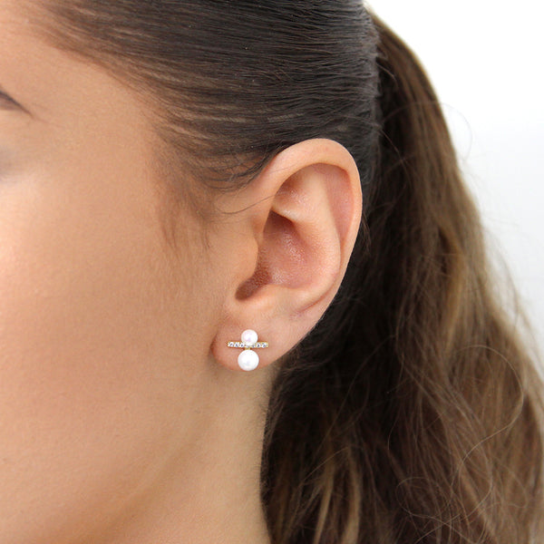 CALIA DOUBLE PEARL CRYSTAL GOLD STUDS